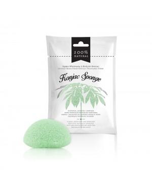 Esponja de rosto esfoliante de fibra de konjac verde