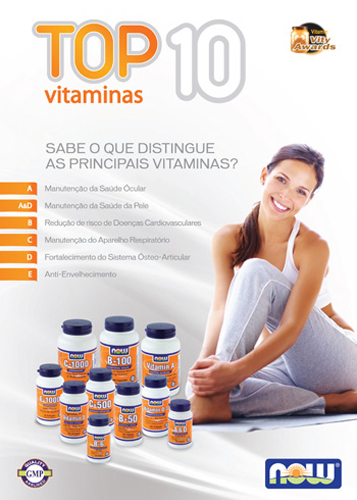 Panfleto Top 10 Vitaminas Now Foods Nasofis
